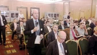 presidente de AVA-ASAJA, Cristóbal Aguado, durante el Congreso del Copa-Cogeca, que representa a las organizaciones agrarias y cooperativas de la Unión Europea, celebrado hoy en Atenas.