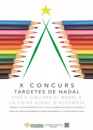 """cartel-x-concurs-nadal-cra-2016 Caixa Rural d'Algemesí organiza el X Concurso de Tarjetas de Navidad """"Vine a dibuixar el Nadal 2016"""", la veu d'alemesi"""
