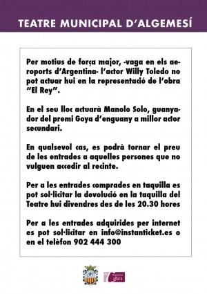 comunicado willy toledo ayuntamiento de algemesi teatro alcaldesa marta trenzano la veu d'algemesi