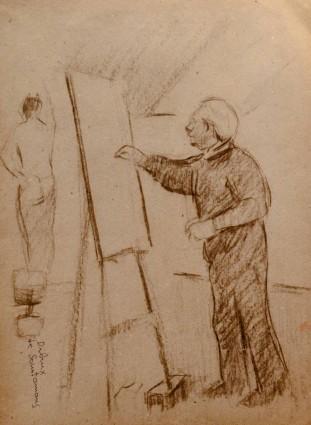 Felipe Santamans, Leonardo dibuixant en l'estudi, 1987 la veu d'algemesí Fragments, apunts i diàlegs: Algemesí dedica una exposició a la figura de l'escultor Leonardo Borràs
